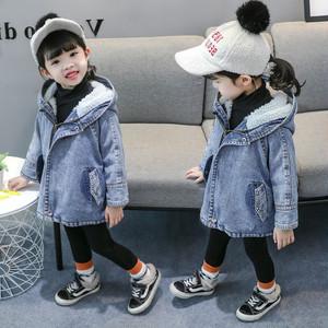 【トップス】ファッション子供服裏起毛保温フード付きデニム女の子アウター24942981