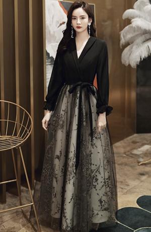 ブラック ロングドレス メッシュ パーティードレス TM0221
