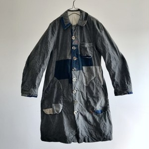 """1950-1960 Vintage Salt&Pepper French Linen Twill made Chore Work Worker """"Gris de Travails"""" Coat by """"Linvosages-Vichy"""""""