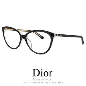 Dior レディース メガネ montaigne33f-tkx 眼鏡 Christian Dior フォックス キャットアイ 黒ぶち 黒縁