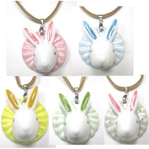陶器製うさぎのペンダント 単品(5種類のカラーから選べます!!)