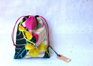 -Pink&Yellow Flowers-  ビンテージ銘仙着物リメイク 花柄きんちゃく 巾着