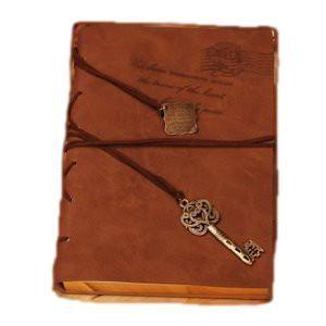 アンティーク風 金縁ノート カギのチャームが かわいい レザータイプ  日記帳 速記ノートなどに (ブラウン系)