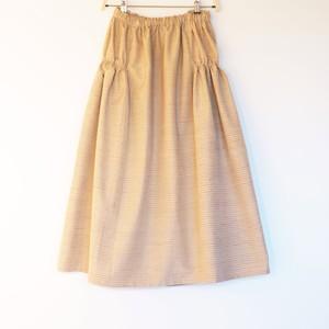 江戸茶に赤茶、浅縹横縞紬 サイド2段ギャザースカート