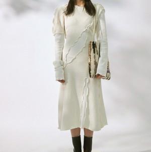 White stitch design dress