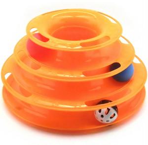 猫 おもちゃ 鈴ボール 遊び 鈴音 運動不足 解消 3段 オレンジ