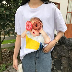 【トップス】ファッション新作ルーズ着瘦せシンプルプリントTシャツ