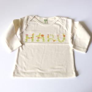 お花畑アルファベット お名前 ベビーTシャツ (グリーン) ● organic cotton 100%【受注生産】