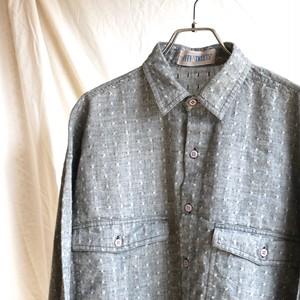 【USED】織り柄 コットンシャツ グレー