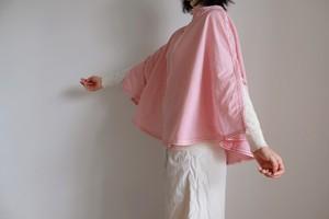 ポンチョ 風 プルオーバーシャツ / Mサイズ /コットン ストライプ【オフ白に赤】オフィスカジュアル / poncho pullover shirt office casual block stripe【off-white&red】