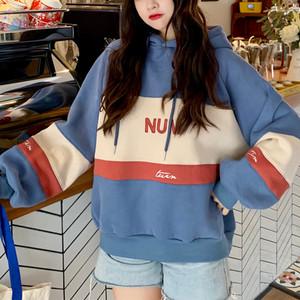【トップス】韓国版insファッション学園風配色ゆったりパーカー