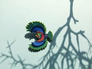 ARRO / 刺繍 ブローチ / Flying bird / green