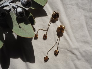 gold rose long pierce/earrings