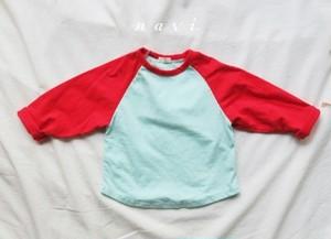 韓国子供服 ラグランTシャツ 2トーンカラー