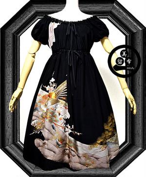 雉刺繍、牡丹、松(家紋・・五三の桐)