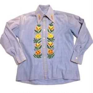 シャンブレー 刺繍シャツ/flower   【古着】