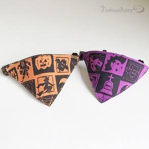 【ハロウィンの窓柄】猫用バンダナ風首輪/選べるセーフティバックル 猫首輪