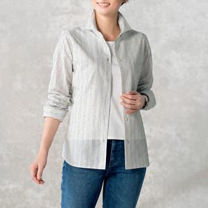 <レディス>SALE 50%OFF  ループヤーン織りの長袖シャツ・ストライプ柄