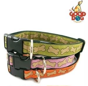 犬用品 The Good Dog Company グッドドッグカンパニー Hemp Canvas Bones Collar & Leash 首輪&リード グリーン