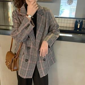 韓国ファッション  折り襟  長袖  チェック柄  ボタン  ゆったり  通勤スタイル  スーツ・アウター