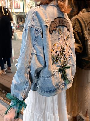 [数量限定]big flower denim jacket