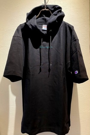 Reverse Weave Pullover Hooded T-shirts(Womens) Black