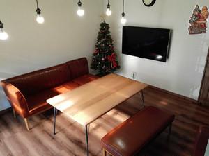 カフェ風 無垢 アイアンテーブル 鉄脚テーブル 80cmx130cm 高さ72cm 鉄脚 無垢ダイニングテーブル 男前 会議テーブル