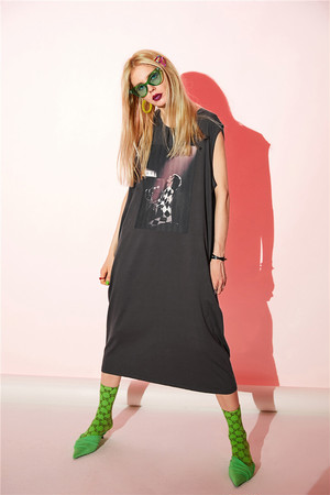 ヴィンテージプリントワンピース 韓国ファッション