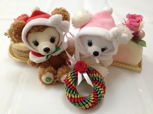 ハワイアンリボンレイ(レシピなし)【薔薇の付いたクリスマスチャーム キット 】