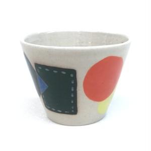 パッチワーク フリーカップ 手づくり手描き Pottery Cup,handmade,hand-painted