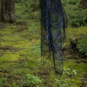 本藍染めシルク羽衣三重織ストール