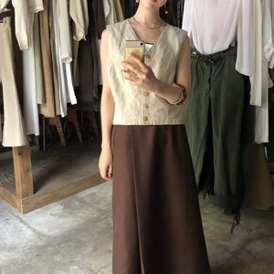 Linen-blend short vest