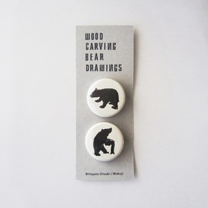 『WOOD CARVING BEAR DRAWINGS』缶バッジセット
