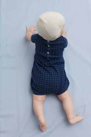 Baby 半袖ジャンプスーツ『FUB』2021SS ダークネイビー Baby Romper Suit, indigo/dark navy GOTS