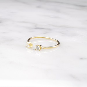 S925 DOUBLE MINI ZIRCONIA OPEN RING GOLD 6