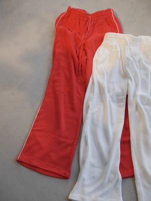 THE MERMAID / PILE PIPING PANTS (WHITE / ORANGE)