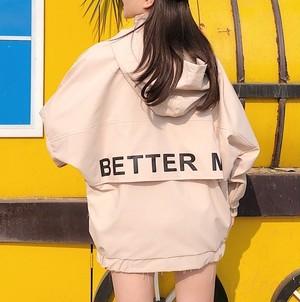 【アウター】カジュアルフード付きジッパーアルファベットジャケット