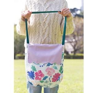 レッスンバッグ(大きな花と薄紫のふた、深緑ベルベットの持ち手)