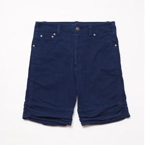 WORK-ER 裾ギャザーショートパンツ(ダークブルー/藍染)