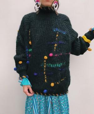 80s handmade black × multi color mohair knit tops ( ヴィンテージ  ハンドメイド ブラック × ポンポン ニット トップス )