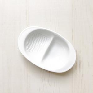 白磁 離乳食に便利な仕切り付き深皿