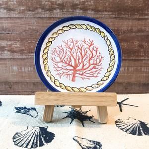 マヨリカ焼き 丸皿 15.5cm サンゴとロープ