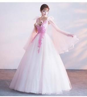 パーティドレス チュールスカート ピンク ウェディングドレス ロングドレス フェミニン 二次会 発表会 宴会 編み上げ 結婚式 刺しゅう お呼ばれ フォーマル ワンピース