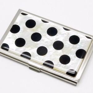天然貝 名刺カードケース(ポルカドットブラック)<螺鈿アート> 【ラッピング対応】