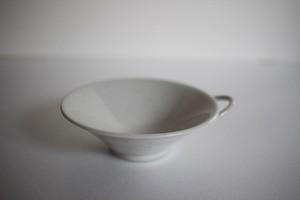 臼田けい子|耳付豆鉢 白(柞灰釉)