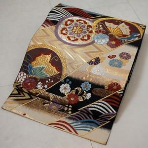 美品 唐織り 振袖 袋帯 金糸 ベージュ 黒 181