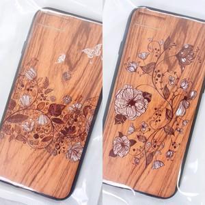 【iPhone7/7s】アンティークウッドプリント・ガーデンアート ハイブリッドケース