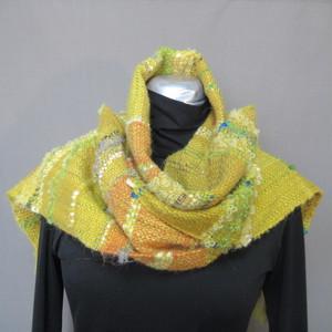 手織り マフラー(黄色)s20-116