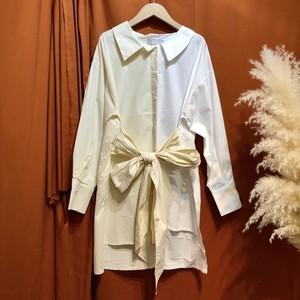Big ribbon bicolor shirt   Color :  Beige
