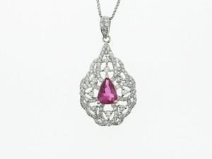 【PT900】R0.70ctD0.62ct天然ルビーダイヤモンドネックレス